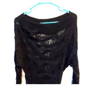 Guess Women's Black Crochet Sweater Sz S